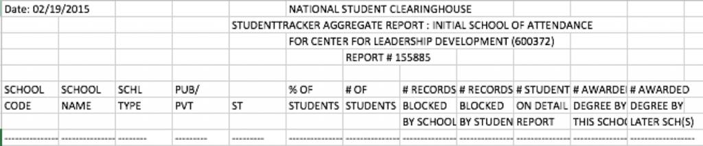 NSC Aggregate Headings
